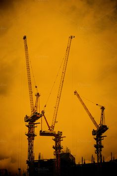 Silhouette construction crane by Pushish Images on @creativemarket