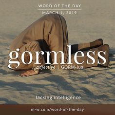 Gormless - Word of the Day Unusual Words, Weird Words, Rare Words, Unique Words, Cool Words, Fancy Words, Big Words, Words To Use, Pretty Words