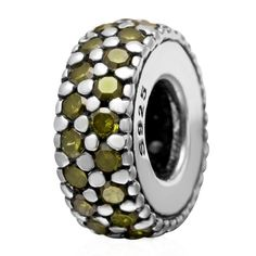 Babao Jewelry Cocise Circle Olive Green CZ Crystals 925 Sterling Silver Bead fits Pandora Style European Charm Bracelets ** Check out this great image  : Jewelry Charm Bracelets