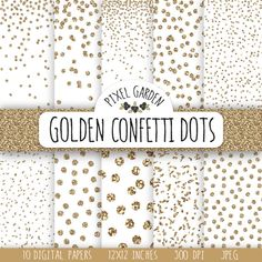 Instand download bronze glitter confetti digital paper pack. Golden metallic Christmas, snow digital paper set will be perfect for Christmas