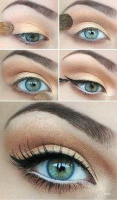 Follow the images for this beautiful eye make-up tutorial. Gold (lid) copper (crease) white eye liner (waterline) black liquid eyeliner (lash line). Simple.