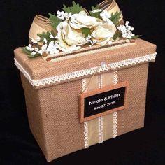 Rustic Wedding Card Box,Fabric,Mailbox,Beige,Burlap,White Roses,custom,Handmade #AllTheBestCardBoxes