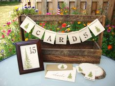 Wedding cards garland with pine trees