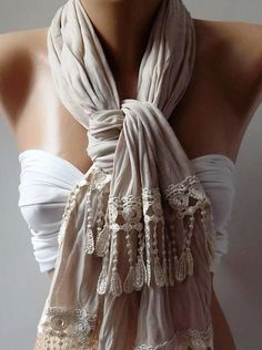 Ivory  Beige  and Elegance Shawl / Scarf by womann on Etsy, $19.00