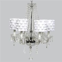 Middleton Glass Chandelier with White Drum Shades