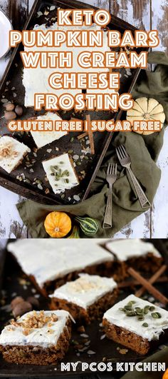 Low Carb Gluten Free Pumpkin Bars with Cream Cheese Frosting - My PCOS Kitchen - These amazing keto pumpkin bars are filled with sugar free chocolate chips, chopped nuts and seeds! All sugar free and gluten free! The perfect halloween treat! Sugar Free Desserts, Low Carb Desserts, Gluten Free Desserts, Fun Desserts, Delicious Desserts, Healthy Desserts, Healthy Brownies, Keto Snacks, Gluten Free Pumpkin Bars