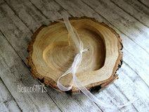 Ringkissen Holz, großes Herzfach, Chiffonband [H1]