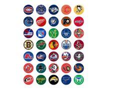 Hockey Logos Printable Digital Collage Sheet Images 1 inch Circles Bottle Caps, $3.00