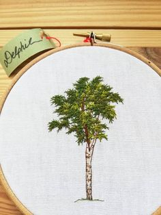 Diy Embroidery Patterns, Hand Embroidery, Tree Designs, Linen Fabric, Birch, Hoop, Cross Stitch, French, Crafty