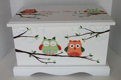 Owl Baby Keepsake Chest  green/orange combo box by staciedale, $255.00