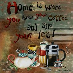 Art Print 8x8. Home Is Where You Brew Your Coffee by studiopetite, $18.00