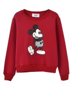 Mickey Pattern Raglan Sleeves Cotton Sweatshirt - Clothing