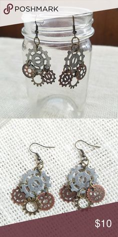 Steampunk Gears Dangle Earrings Silver and bronze dangle earrings with gear charms. Hand crafted. Jewelry Earrings