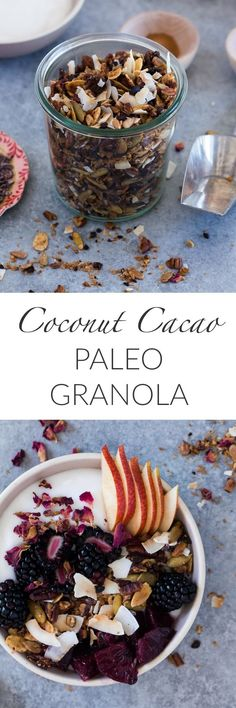 Coconut Cacao Paleo Granola is naturally sweetened, grain free and full of good-for-you ingredients. Try it as a crunchy topping over dairy free yogurt for a healthy, nourishing breakfast.