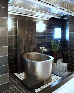 """Ofuro"" Japanese soaking tub --oh oh it looks like I a contender for my wet room dream bath. Why not a Japanese soaking tub inside of the steam shower. Bathroom Styling, Beautiful Bathrooms, Bathroom Design, Bathtub Design, Japanese Bathroom, Soaking Tub Shower Combo, Bathroom Decor, Modern Bathtub, Japanese Soaking Tubs"