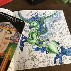 If anyone is in need of a badass adult coloring book, check out Kerby Rosanes's #mythomorphia coloring cook.  I colored this Pegasus using #primsacolor #premiercoloredpencils . #kerbyrosanes #kerbyrosanesmythomorphia #adultcoloring #prismacolorpencil #prismacolor #pegasus #greenhorse