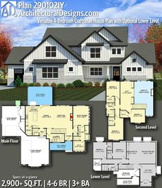 ****Perfect Architectural Designs Home Plan 290102IY gives you 4-6 bedrooms, 3+ baths and 2,800+ sq. ft.