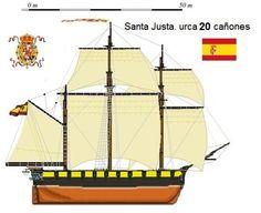 Perfiles navales. Santa Justa.Urca 20 cañones 1772.La Urca fue la primera embarcación en sustituir a los modelos dedicados al transporte de mercaderías de la Edad Media, teniendo similitudes con los barcos de los vikingos. Por su capacidad de carga y su buena adaptación como buque de guerra fue utilizada por las marinas de los países nórdicos, y por sus creadores los holandeses, así como por los españoles e ingleses.