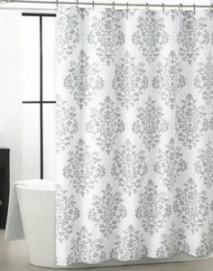 Tahari Luxurious Grey White Damask Medallion Fabric Shower Curtain