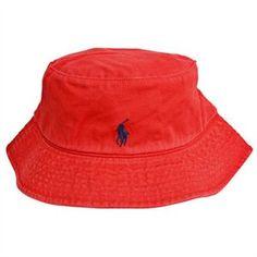 gray & red polo fisherman hat   Rakuten.com - Polo Ralph Lauren Red Cotton Bucket Hat in Large