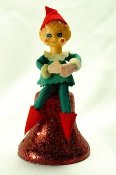 Vintage Felt Elf Sitting On Red Plastic Bell Christmas Decorations Ornaments