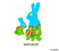 Vector: happy easter with rabbit