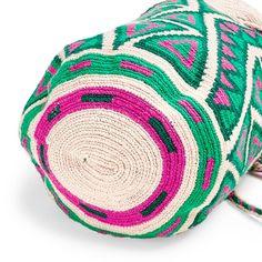 Guanábana Pink & Green Wayuu Bag - tapestry crochet