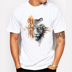 3fc92d2809c Hot Fashion Men tops personalized 3D graffiti tiger printing leisure simple  short - sleeved T -