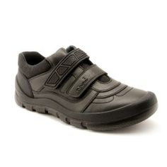 Rhino Warrior - Black Leather - boys school shoes that provide comfort for the playground and style in the classroom