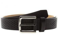 Cole Haan Washington Grand 32mm Laser Perf Belt (Black) Men's Belts