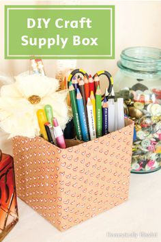 Get your office space organized with this simple and colorful DIY Craft Supply Holder. Gluing empty toilet paper rolls inside a paper-covered box makes for a clever and cute way to store your pens and pencils. Keep your workspace free from any mess with Bounty Paper Towels!