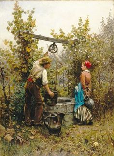 """The Well,"" 1880 -- by Daniel Ridgway Knight (American, Brooklyn Museum. Art Painting Gallery, Painting & Drawing, Art Ancien, Knight Art, Victorian Art, Wishing Well, Fine Art, Couple Art, Oeuvre D'art"