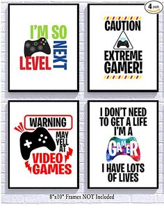 Bright Video Gamer Themed Art Print Room Wall Decor Mix and Match (May Yell) Silly Goose Gifts Game Room Decor, Boys Room Decor, Room Wall Decor, Boy Room, Gamer Bedroom, Kids Bedroom, Bedroom Ideas, Video Game Bedroom, Boys Game Room