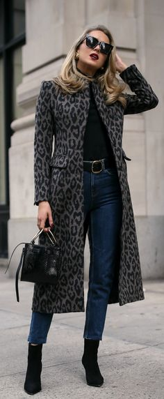 My favorite black boots two ways! // Long black and grey leopard coat, black turtleneck, high-waisted dark wash denim with a raw hem, black suede booties, black leather belt, black embossed bag, black sunglasses, berry lip {Tamara Mellon, Le Specs, Smythe, Nars, Splendid, fall winter outfits, mom jeans, casual office style, nyc fashion blogger, what to wear}