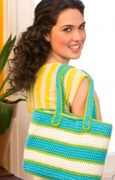Striped Tote Bag Free Crochet Pattern from Red Heart Yarns
