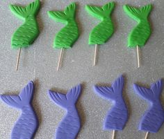 Edible Fondant Mermaid Tail Cupcake toppers by PartySweetness, $22.00