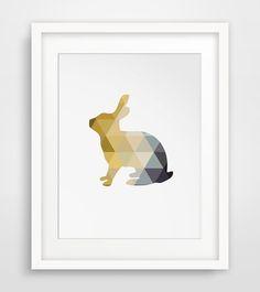 Grey Yellow Rabbit Nursery Grey and Gold by MelindaWoodDesigns #nurseryprint #rabbitdecor