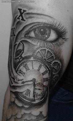 Tatuaje de Ojos, Relojes, Engranajes