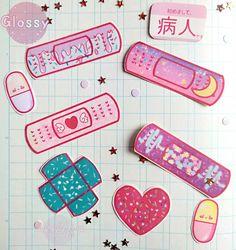 Kawaii Pastel Menhera Sticker Set (9 or 18 pc) - Handmade Stickers - Plaster Bandaid Sticker Yami Kawaii Decora Bandaid Tattoo, Presets Photoshop, Otaku Room, Kawaii Accessories, Band Aid, Kawaii Cute, Up Girl, Kawaii Fashion, Pink Aesthetic