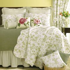 French Country Bed Linens | French Country Quilts ~ Green Toile