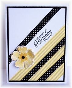 handmade birthday card from Scrappin' and Stampin' in GJ ... yellow, black and white colors ... luv the diagonal washi tape stripes ... contrast in color, width and design ... sentiment stamp in between ... like the design element of black mat line framing the main card panel ... Stampin' Up!