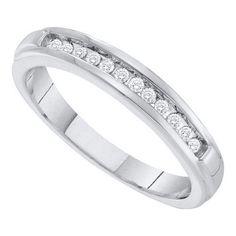 10k White Gold 0.13Ctw Diamond Fashion Wedding Ring Band