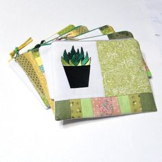 3cdba798b994 Zippered pouch Pencil case Cosmetic bag Cactus Gift Mom Aunt Sister Clutch  Zipper coin purse Botanical succulent Small fabric Makeup bag