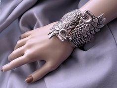 Vintage Mexican Sterling Silver Dragon Clamper Bracelet