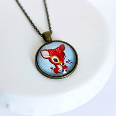 Retro Deer Bambi Cameo Necklace by TheLittleWonderland on Etsy