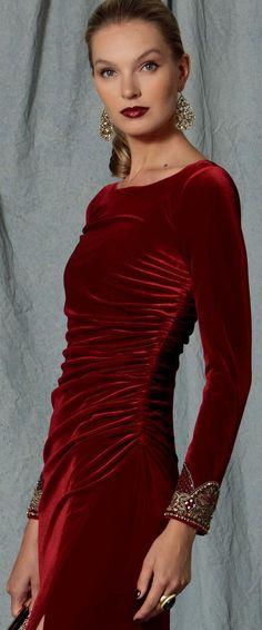 Vogue Patterns, Size 14 Dresses, Dresses With Sleeves, Formal Dresses, Velvet Bridesmaid Dresses, Velvet Fashion, Beaded Trim, Schneider, Badgley Mischka