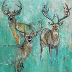 """""""Which One?"""" by Katherine McClure. 36 x 36 inches. Acrylic, pencil, and gloss on gallery wrapped canvas. $1,100. Perfect for a #mountainhome! #deer"""