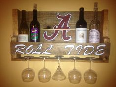 Alabama Roll Tide Reclaimed Pallet Wine Rack Crimson And White Hand Painted…