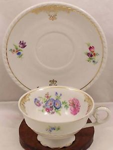 Bareuther-Bavaria-China-Cup-Saucer-Gold-Filigree-Floral-Pattern