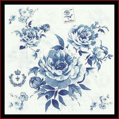 Blue Flowers on Tissue Paper Napkins Use For by stampsandmore, $2.95